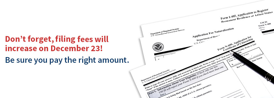 USCIS Announces Fee Increases